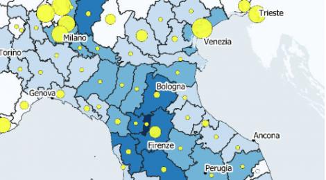 QUAINT's map of the month/5: Modo di trasporto per l'accesso di turisti internazionali anno 2017